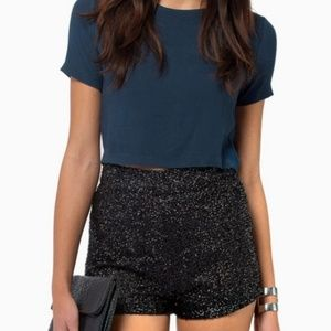 TOBI black sequin high waist shorts
